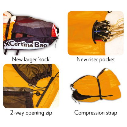 The XCertina IV concertina-packing bag is the quickest and best way to pack and store your paraglider or paramotor wing simply and easily
