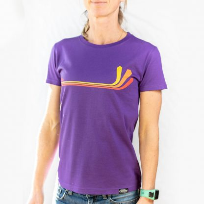 Cross Country Magazine paragliding T-shirt in purple with Atari design