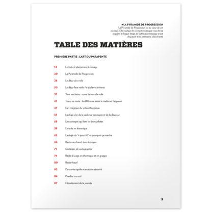 Maîtriser en Parapente - Tables des matières