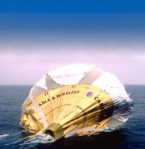 The Cable and Wireless balloon after ditching in the Pacific in 1999