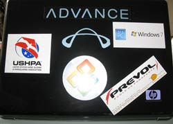 A premonition to his cross country prize draw win? Johnny's laptop was already adorned with Advance stickers
