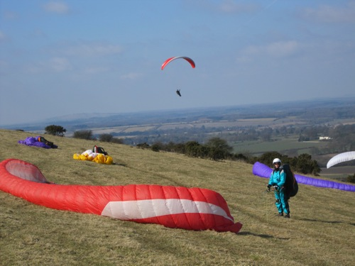 A spring day on classic English paragliding and hang gliding site Combe Gibbet in early March 2010. Under the proposed rules this would be banned. Photograph: Ed Ewing
