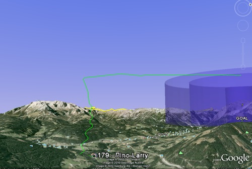 Larry Pino goes for a ride at the 2010 European Paragliding Championships - tracked in real-time on Google Earth
