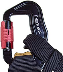 Finsterwalder & Charly's Snaplock karabiner, showing how it can accommodate 40 mm webbing and an extra back support strap
