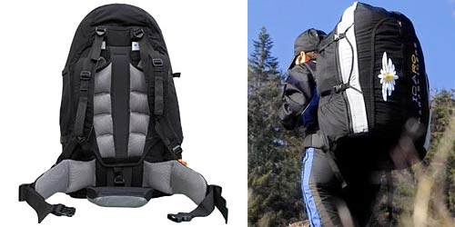 Icaro's Energy Cross as a rucksack, showing the demountable padded hip belt and carry system, and the rough size of the pack when carried.