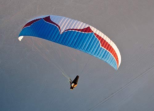 Ozone's new EN C paraglider, the Delta. Photo: Loren Cox / www.flyozone.com