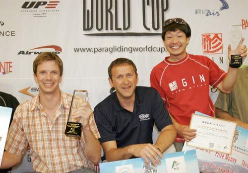 Men's Podium for the 2010 PWC China: Alex Hofer (2), Andrey Eliseev (1), Yasushi Kobayashi (3)