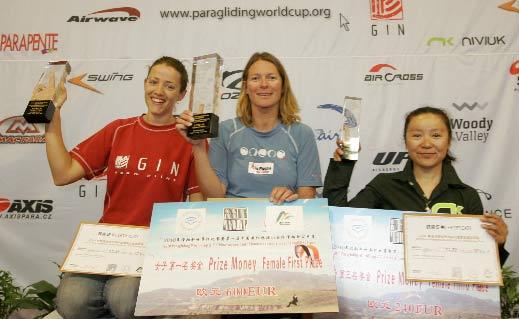 Women's Podium for the 2010 PWC China: Christine Metas (2), Orlane Sturbois (1), Xiangping Hou (3)