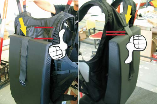 Sol paraglider harness back protectors - incorrect and correct fittings