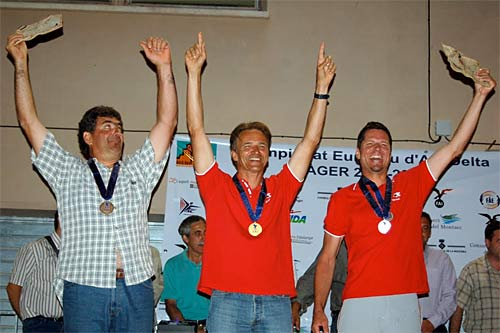 Podium of the 17th FAI European Hang Gliding Championships held in Ager, Spain.