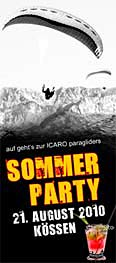 Icaro Paragliders summer party 2010 poster
