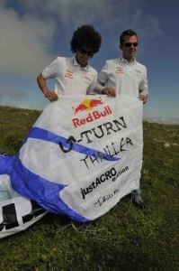 Pal Takats and Gabor Kesi before performing the Infinite Tumble on a U-Turn Thriller paraglider