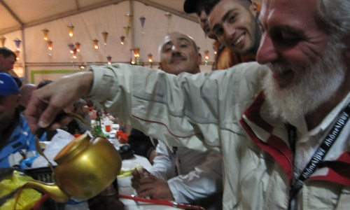 The Iraqi paragliding team serve tea for Cross Country magazine in the food tent