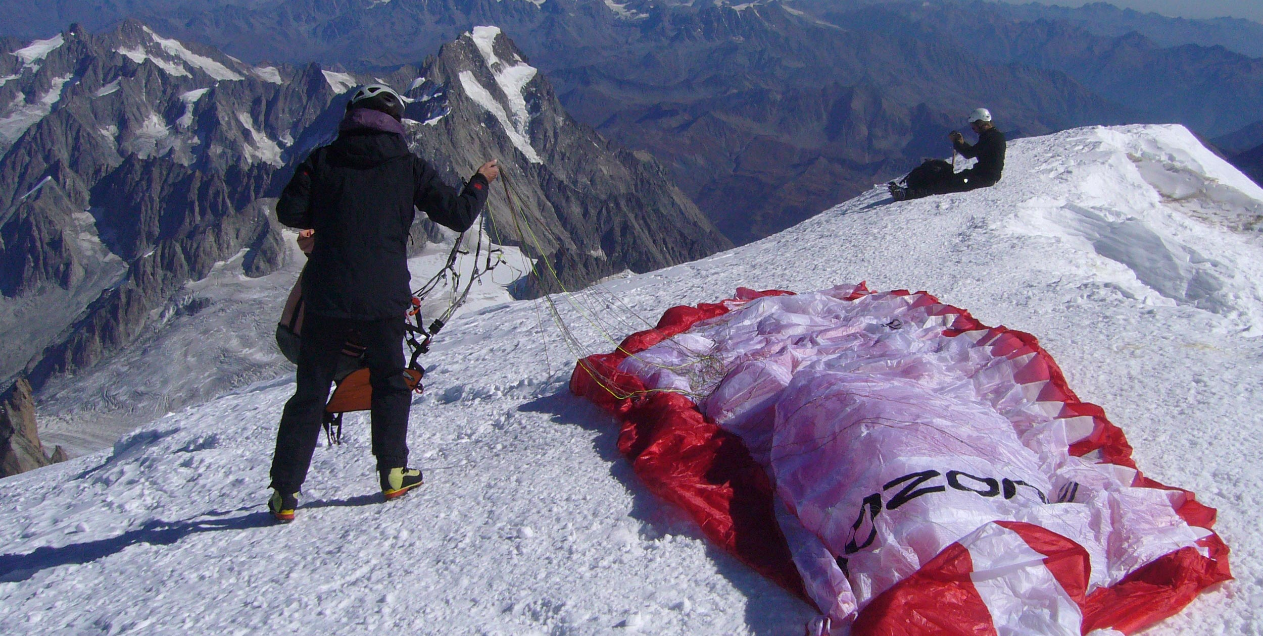 Preparing to launch from Mont Blanc