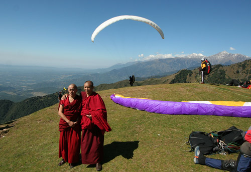 Launch at Billing, Himachel Pradesh. The area is home for many Tibetan monks-in-exile. Paragliding has been banned until 20 October 2010. Photo: Ed Ewing