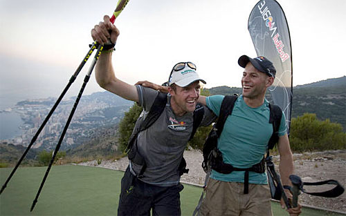 Celebrating winning the 2009 edition of the Red Bull X-Alps: Chrigel maurer and Thomas Theurillat
