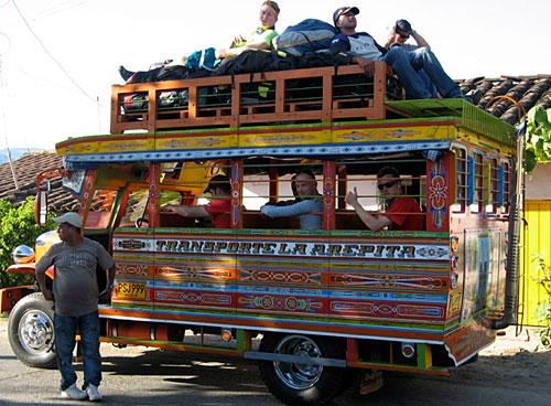 The colourful retireve vehicle in Colombia