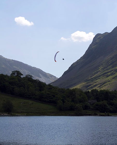 Flying over Buttermere at the 21st Lakes Charity Classic, 2011