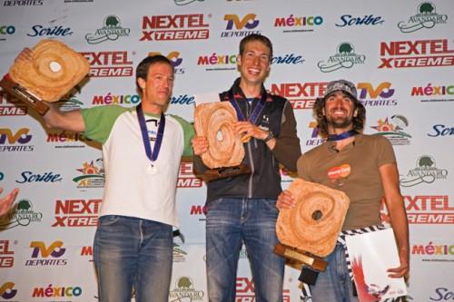The podium at the 2009 Paragliding World Championships: 1st Andy Aebi, 2nd Stefan Wyss, 3rd Aljaz Valic. Photo: M. Scheel www.azoom.ch