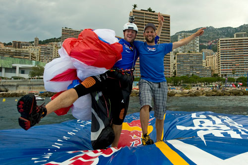 Chrigel Maurer and Thomas Theurillat on the raft at Monaco. Photo: Red Bull X-Alps