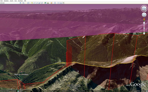 A Google Earth snapshot of Chrigel Maurer's Red Bull X-Alps tracklog on 22 July 2011 – he bumped up into airspace and got a 24hr time penalty for it
