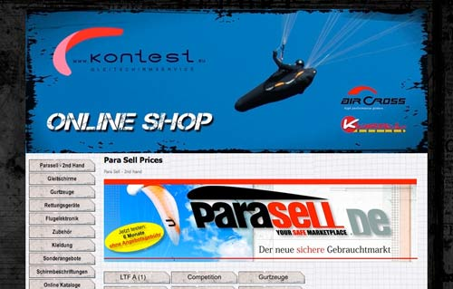 Parasell used paragliding equipment intermediary