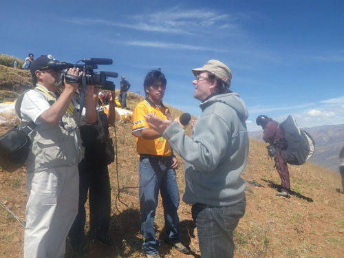 Xavier on take off with local media in Peru. Photo: PeterC