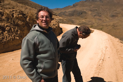 Xavier, left, and Peter on reconnaissance in Peru. Photo: James Johnson