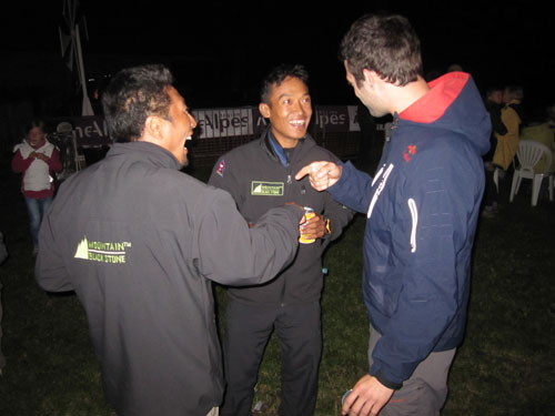 Babu Sunuwar, Lakpha Sherpa and Tom de Dorlodot at the bar on the south launch 22 Sept 2011. All photos: Ed Ewing