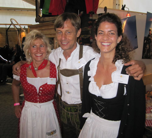 The Icaro Paragliders stand is brilliant –they are turned out in national dress. 'The theme is Bavaria,' they told us
