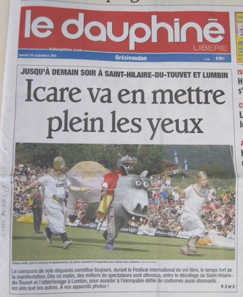Le Dauphine front page. Click for a larger version