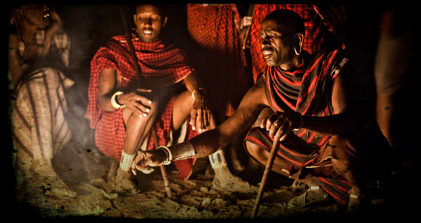 Dinner with Massai, Kenya. Photo: Tom de Dorlodot