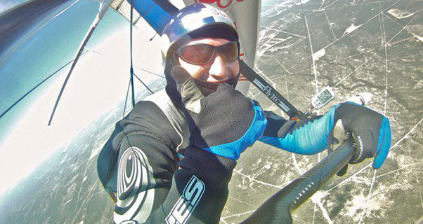 Jonny Durand mid-flight while breaking the distance to goal world record. Photo: Jonny Durand