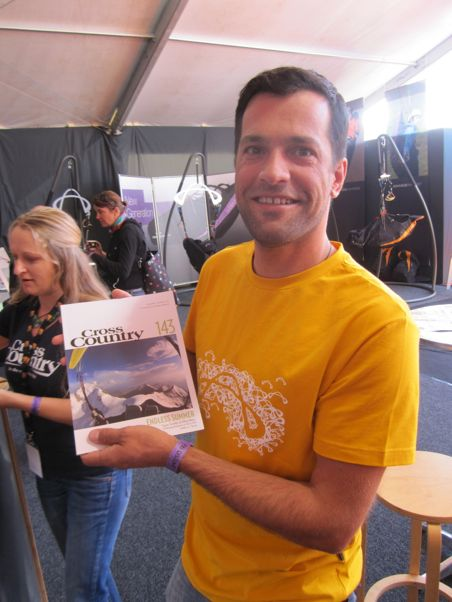 Greg Blondeau holds the latest copy of Cross Country - it's his photo on the cover. He spent four hours on the top of Mont Blanc before taking off and flying down around 6pm, when he took the cover photo.