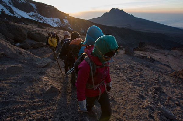 Dawn start ... The hike to the summit on the final day. Photo: Wings of Kilimanjaro