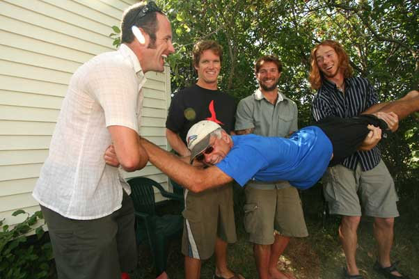Davis Straub shows he's game for a laugh, with the US Team at a previous Hang Gliding World Championships. Photo: Ed Ewing