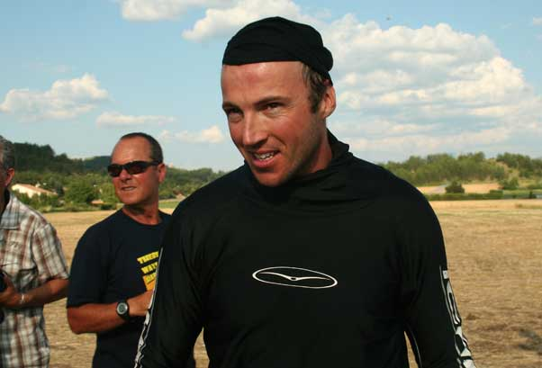Alex Ploner, after winning the last task at the Worlds in Laragne, 2009. Photo: James Pagram