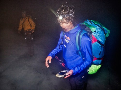 Navigating by headtorch in the 2011 Red Bull X-Alps. Photograph: Red Bull Content Pool / Vitek Ludvik