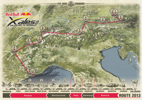 The route of the Red Bull X-Alps 2013. Click to enlarge. Image: Red Bull Content Pool