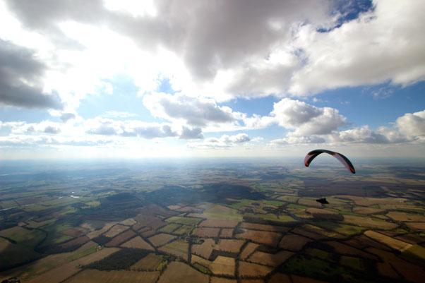 Colin Hawke above the English flatlands. Photo: Jim Mallinson