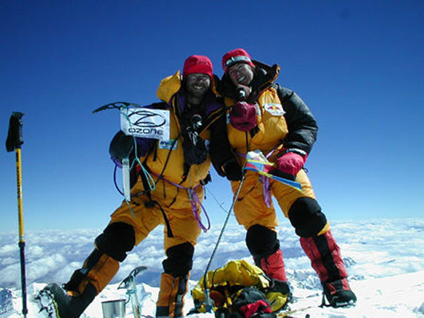 Zeb and Claire on the summit of Everest, before their tandem paraglide into Tibet. Photo: claire-zeb.pagesperso-orange.fr