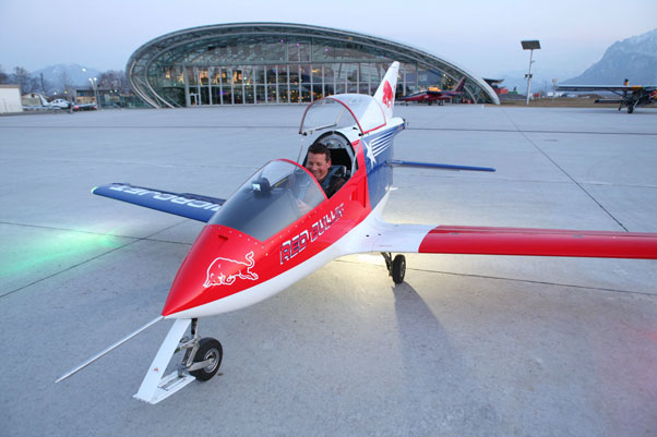 Guido Gehrmann in a Flying Bulls Microjet, 2011. Photo: Red Bull Content Pool