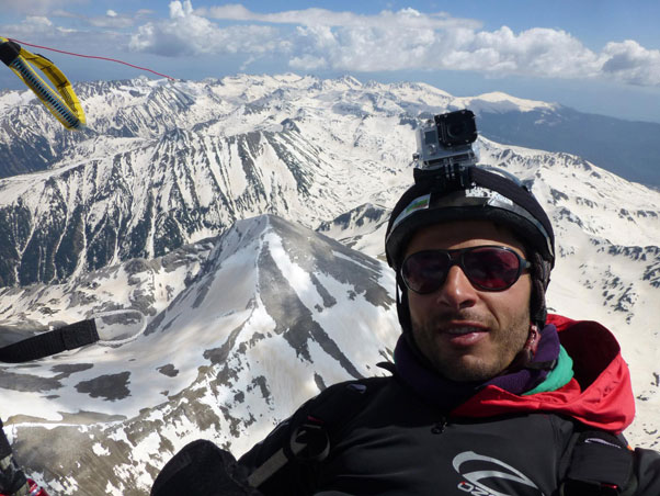 Self portrait while passing Vihren, at 2,914m the highest peak in Bulgaria's Pirin Mountains. Photo: Yassen Savov