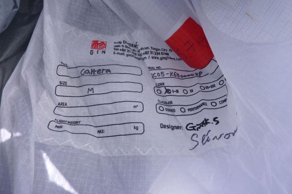 Tick the box –the glider has been certified EN B in the medium size. (EN B)