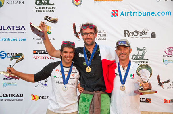 The winners' podium at the Paragliding World Championships 2013. Photo: Martin Scheel