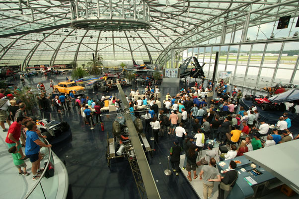 The scene at Hangar 7 in Salzburg, Austria, at the Red Bull X-Alps press conference. Photo: Ed Ewing