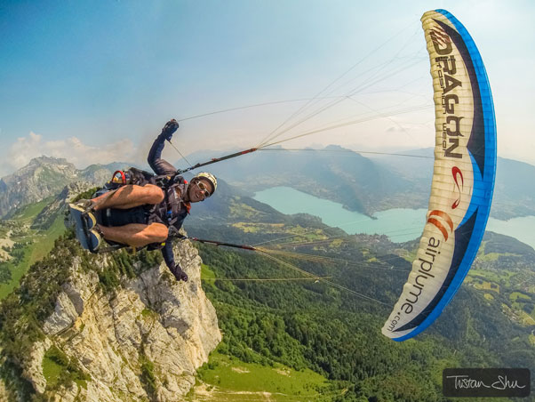 Maxime Chiron above Annecy, July 2013. Photo: Tristan Shu