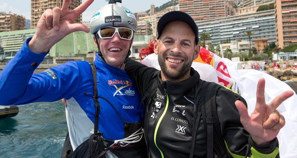 Maurer and Thomas Theurillat celebrate winning their third Red Bull X-Alps last year. Photo: Olivier Laugero