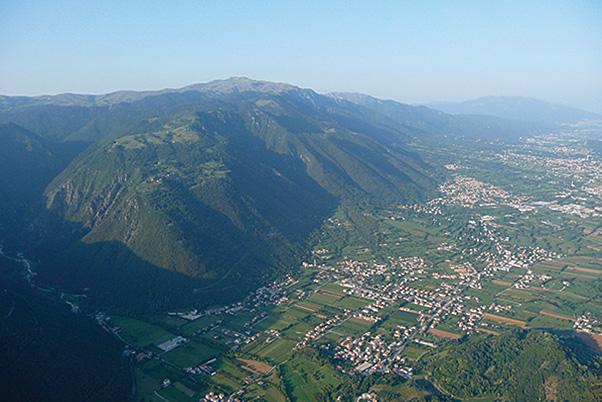 Looking across the main ridge of Bassano with the village of Semonzo below it.  Photo: Kelly Farina
