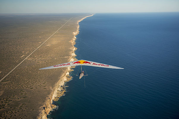 Jonny Durand above the Nullabor cliffs on the record day. Photo: Mark Watson / Red Bull Content Pool
